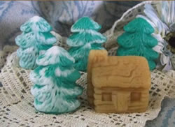 Log Cabin and Pine Tree Soap and Beeswax Tart Molds
